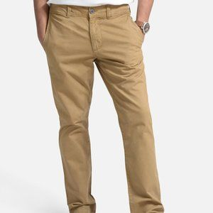 OLGYN Men's Slim Fit  Khaki Flat Front Chino Pant